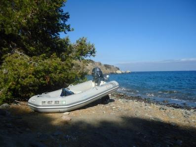 Beaching the dinghy