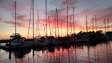 Sunset off the back of Penelope in Chula Vista Marina