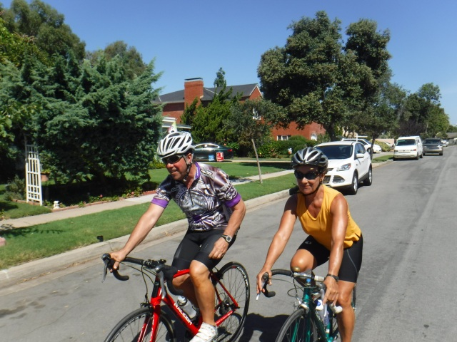 Chris and Susan riding together in Coronado