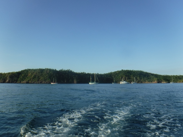 Crossing the bay in the dinghy